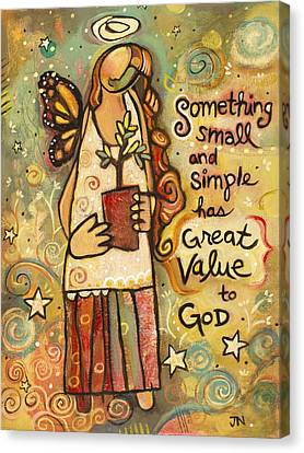 Someting Small Inspirational Art Canvas Print by Jen Norton