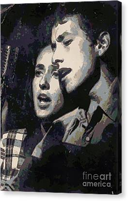 Joan Baez And Bob Dylan Canvas Print by Paulette B Wright