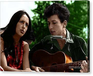 Singing Canvas Print - Joan Baez With Bob Dylan by Celestial Images