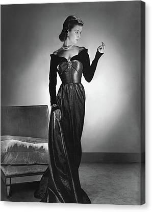 Joan Bennett Wearing A Velvet Dress Canvas Print