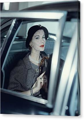 Joan Friedman In A Car Canvas Print by Clifford Coffin