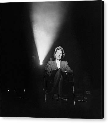 British Cinema Canvas Print - Joan Harrison In A Dark Cinema by Ralph Crane