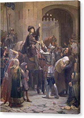 Joan Of Arc 1412-31 Leaving Vaucouleurs, 23rd February 1429 Oil On Canvas Canvas Print by Jean-Jacques Scherrer