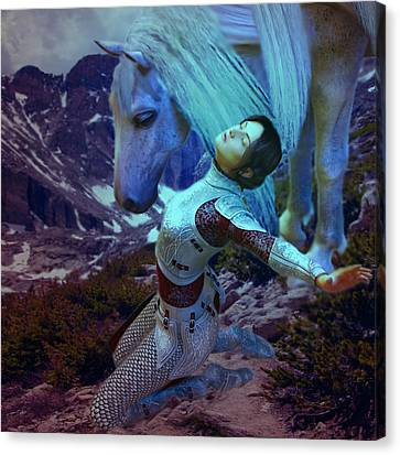 Canvas Print featuring the painting Joan Of Arc  Blue Visions by Suzanne Silvir