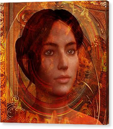 Canvas Print featuring the painting Joan Of Arc Holy Fire by Suzanne Silvir