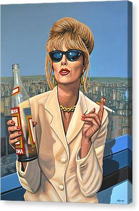 Artwork On Canvas Print - Joanna Lumley As Patsy Stone by Paul Meijering