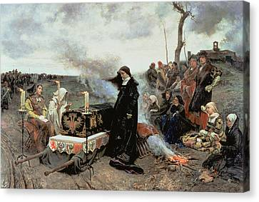 Joanna The Mad Accompanying The Coffin Of Philip The Handsome Canvas Print by Francisco Pradilla y Ortiz