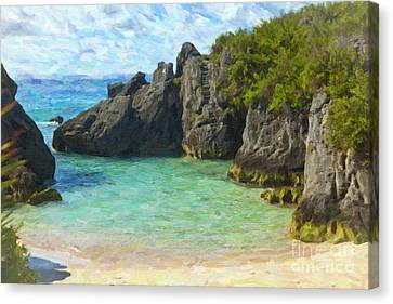 Canvas Print featuring the photograph Jobson Cove Beach by Verena Matthew