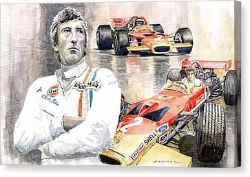 Lotus Leaves Canvas Print - Jochen Rindt Golden Leaf Team Lotus Lotus 49b Lotus 49c by Yuriy  Shevchuk
