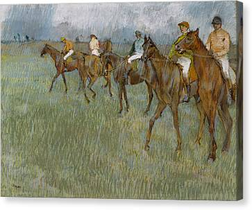 Race Canvas Print - Jockeys In The Rain, 1886 by Edgar Degas