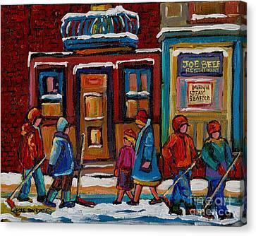 Joe Beef Restaurant And Boys With Hockey Sticks Canvas Print by Carole Spandau