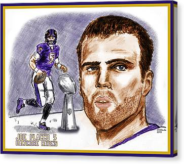 Joe Flacco Canvas Print by Chris  DelVecchio
