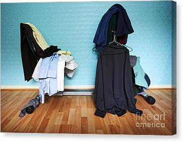 Joe Fox Fine Art - Clothes Piled On Top Of A Recumbent Home Exercise Bicycle Canvas Print by Joe Fox