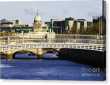 Halfpenny Bridge Canvas Print - Joe Fox Fine Art - Hapenny Liffey Bridge Over The River Liffey In Central Dublin by Joe Fox