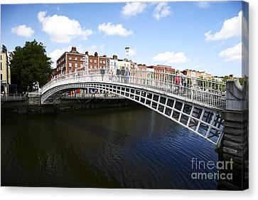 Halfpenny Bridge Canvas Print - Joe Fox Fine Art - Hapenny Liffey Bridge Over The River Liffey In Dublin Ireland by Joe Fox