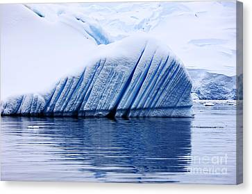 Joe Fox Fine Art - Snow Covered Iceberg Showing Blue Ice Lines Created By Bubbles And Fresh Water Floating In The Sea Canvas Print by Joe Fox