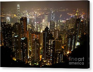 Joe Fox Fine Art - View Over Hong Kong City At Night From The Pe Canvas Print by Joe Fox