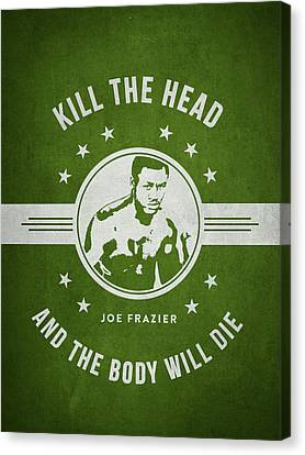 Boxer Canvas Print - Joe Frazier - Green by Aged Pixel