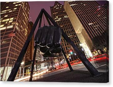 Joe Louis Fist Statue Detroit Michigan Night Time Shot Canvas Print by Gordon Dean II