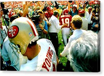 Joe Montana Meets Steve Young Canvas Print by Retro Images Archive
