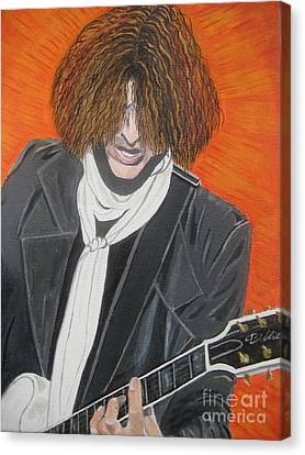 Joe Perry On Guitar Canvas Print by Jeepee Aero