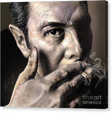 Performers Canvas Print - Joe Strummer-burning Lights by Reggie Duffie