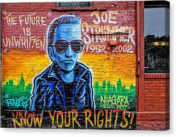 Joe Strummer Mural Lower East Side Nyc Canvas Print by Robert Ullmann
