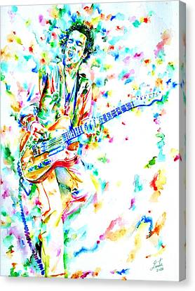 Joe Strummer Playing Live Canvas Print by Fabrizio Cassetta