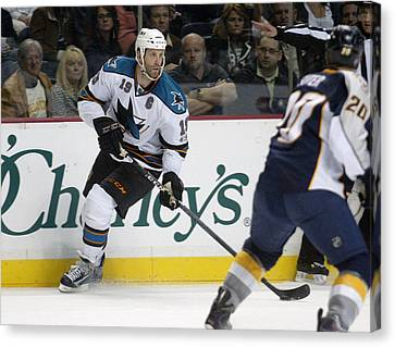 Canvas Print featuring the photograph Joe Thornton by Don Olea