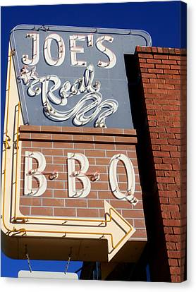Joes Real Bbq Canvas Print