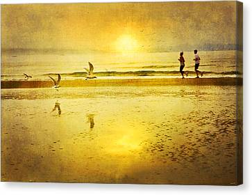 Jogging Canvas Print - Jogging On Beach With Gulls by Theresa Tahara