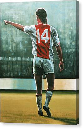 Barcelona Canvas Print - Johan Cruijff Nr 14 Painting by Paul Meijering