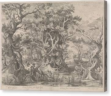 Johannes De Doper Praying In A Morass Landscape Canvas Print by Claes Jansz. Visscher (ii)