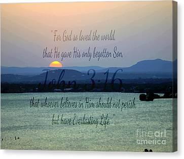 John 3 16 Lake Sunset Canvas Print by Sharon Soberon