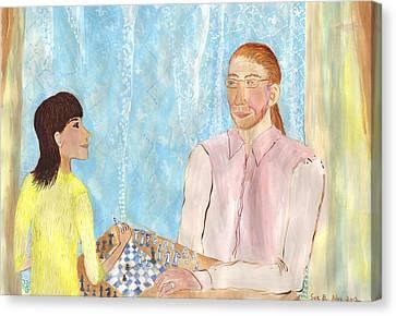 John And Jaz Play Chess Canvas Print by Sushila Burgess