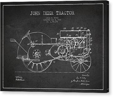 John Deer Tractor Patent Drawing From 1930 - Dark Canvas Print