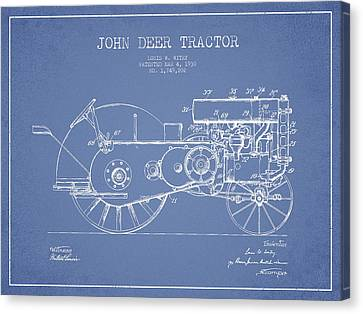 John Deer Tractor Patent Drawing From 1930 - Light Blue Canvas Print