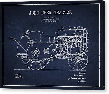 John Deer Tractor Patent Drawing From 1930 - Navy Blue Canvas Print