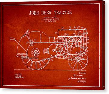 John Deer Tractor Patent Drawing From 1930 - Red Canvas Print