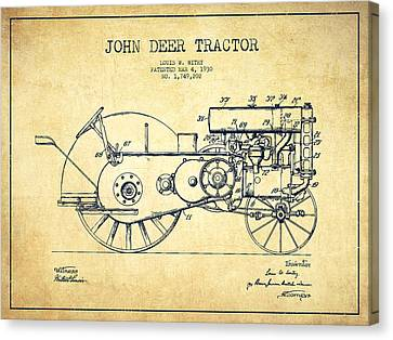 John Deer Tractor Patent Drawing From 1930 - Vintage Canvas Print by Aged Pixel