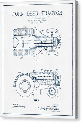 John Deer Tractor Patent Drawing From 1932- Blue Ink Canvas Print