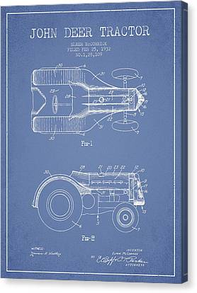 John Deer Tractor Patent Drawing From 1932 - Light Blue Canvas Print