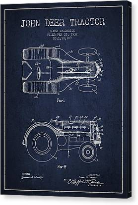 John Deer Tractor Patent Drawing From 1932 - Navy Blue Canvas Print