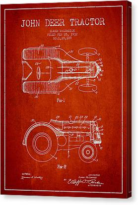 John Deer Tractor Patent Drawing From 1932 - Red Canvas Print