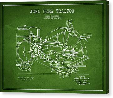 John Deer Tractor Patent Drawing From 1933 - Green Canvas Print