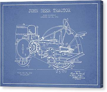 John Deer Tractor Patent Drawing From 1933 - Light Blue Canvas Print