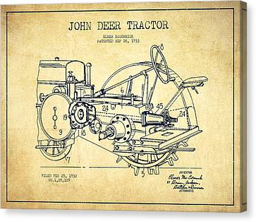Tractors Canvas Print - John Deer Tractor Patent Drawing From 1933 - Vintage by Aged Pixel