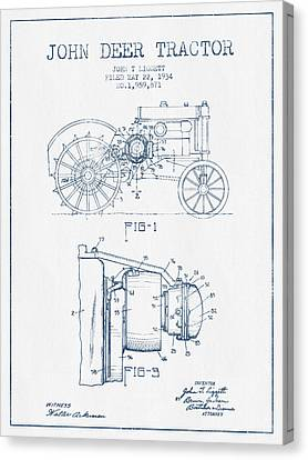 John Deer Tractor Patent Drawing From 1934- Blue Ink Canvas Print
