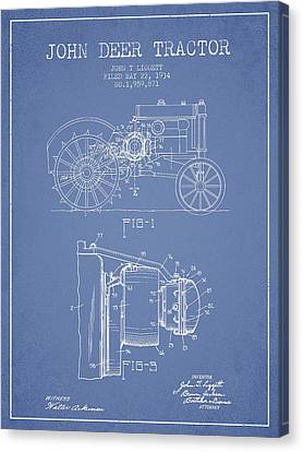 John Deer Tractor Patent Drawing From 1934 - Light Blue Canvas Print