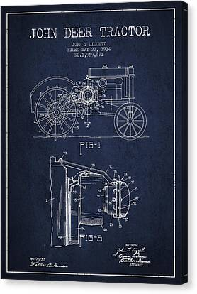 John Deer Tractor Patent Drawing From 1934 - Navy Blue Canvas Print by Aged Pixel